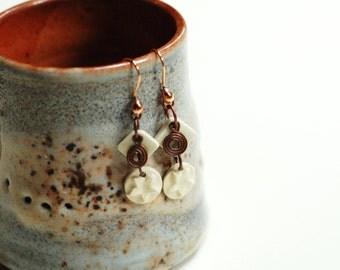 geometric earrings,copper dangle earing,clay art earrings,pottery art earrings,circle diamond beads,star spiral earrings,clay copper earring