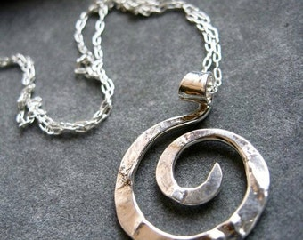 Mini Rugged Spiral Pendant Necklace in Copper, Bronze or Sterling