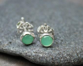 Chrysoprase Earrings, Tiny Earstuds, Green Gemstone Earrings, Green Earrings, Stud Earrings