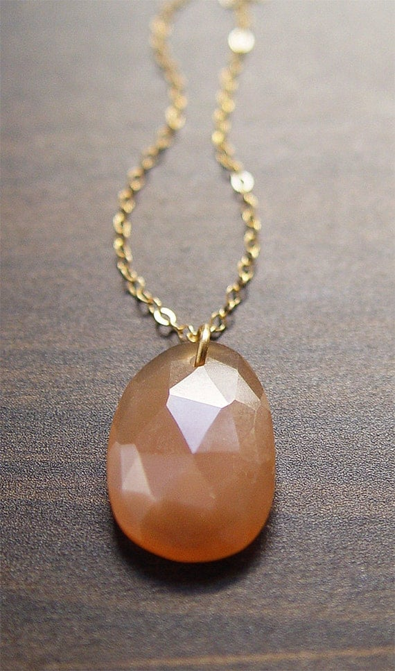 Peach Moonstone Rosecut Necklace 14k Gold Filled