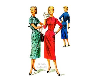 50s Wiggle Dress Pattern McCall's 3783, Button Front Dress with Peter Pan Collar, Pockets, Bust 34 Uncut Vintage Easy Sewing Pattern