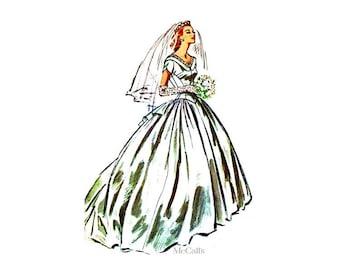 50s Wedding Dress Pattern McCalls 3940, Bust 34, Designer Gaston Mallet, Bustle, Optional Train, Rare Vintage Bridal Gown Pattern, Uncut