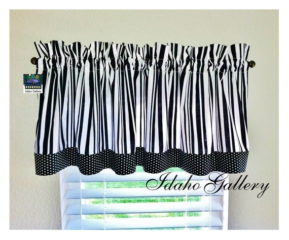 black and white stripes and polka dots kitchen curtain or. Black Bedroom Furniture Sets. Home Design Ideas