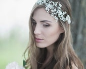 Wedding Headpiece , Bridal Headdress, Swarovski Wedding Headband,  Crystal Pearl Bridal Hair Accessory