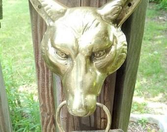 Vintage door knocker brass antique wolf 39 s head door knocker vintage home decor - Wolf head door knocker ...