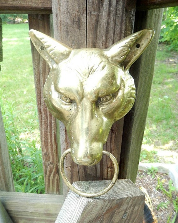 Vintage door knocker brass antique wolf 39 s head door - Wolf head door knocker ...