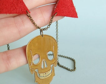Brass and Leather Skull Necklace Skeleton Jewellery Anatomy Jewelry