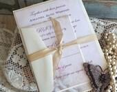 Vintage Romantic Roses Wedding Invitation SAMPLE Handmade by avintageobsession on etsy