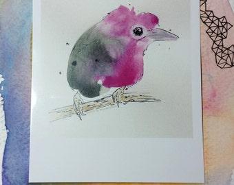 Blob Birdie - polaroid print small artwork  3.5 x 4.25 artwork by Agnes in Wonderland