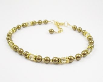 Beaded Ankle Bracelet - Antique Brass Swarovski Pearl and Pale Gold Firepolished Czech Glass Anklet