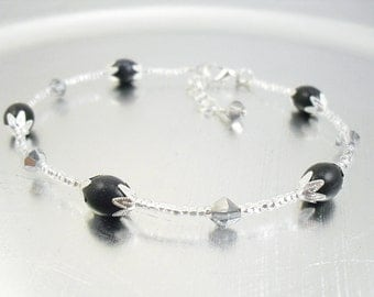 Beaded Ankle Bracelet - Blue Goldstone and Silver Mirrored Glass Anklet