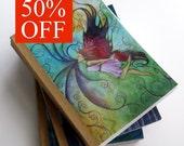 50% OFF - set of 3 mini journals - fairy, fantasy, girl, painting, writing, gratitude, goddess, woman, feminine