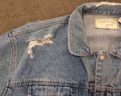 The Vintage Destroyed Light Wash Capital Jeans Denim Jacket