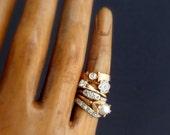 Vintage Diamond White Gold Ring. Late Art Deco Blossom. Engagement Wedding Band.