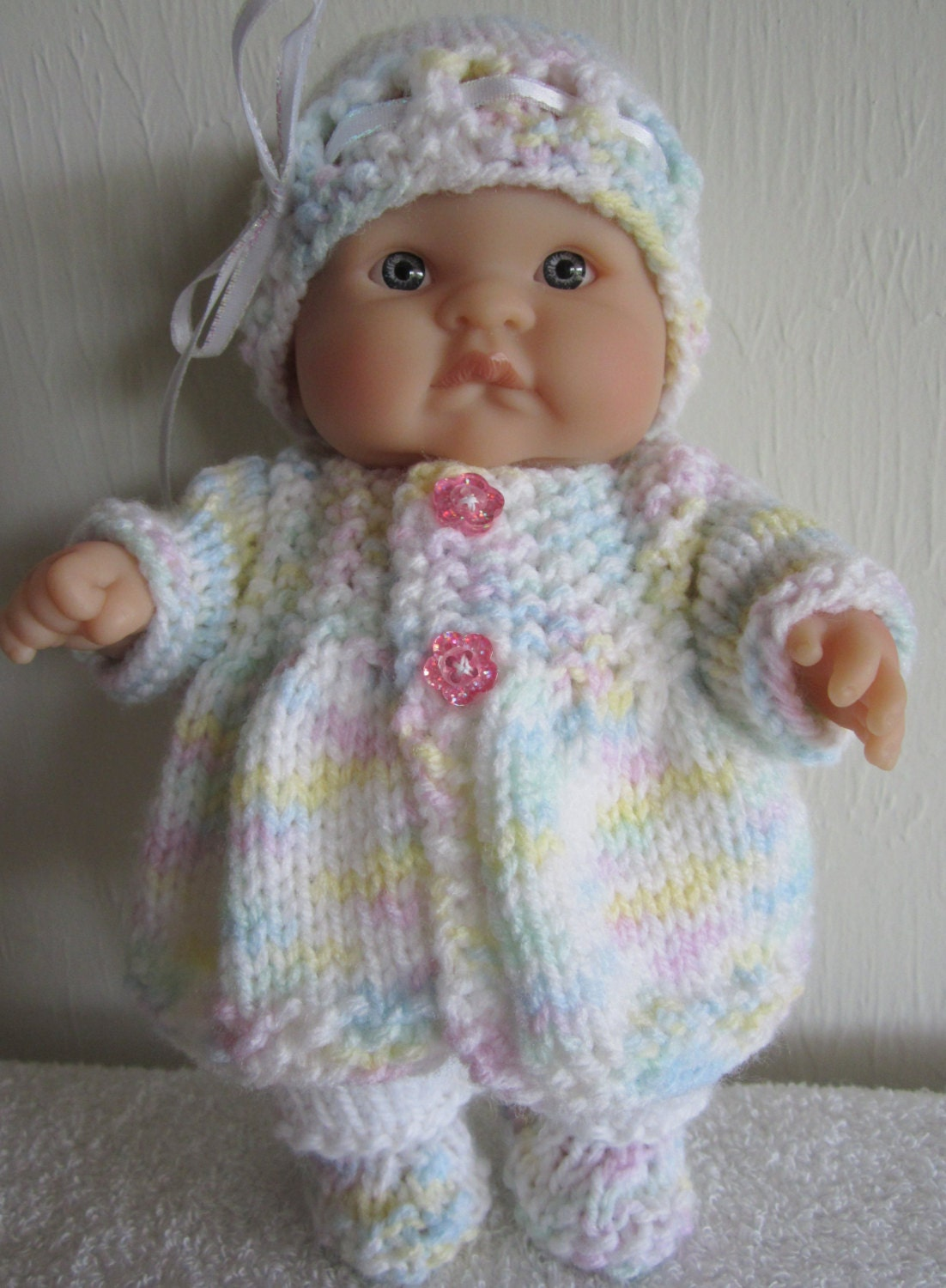 Knitting Baby Doll : Knitting pattern berenguer baby doll matinee jacket set for