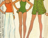 Vintage 70s McCalls 4071 Misses Swimsuit, Coverup and Halter Top Sewing Pattern Size 14 Bust 36