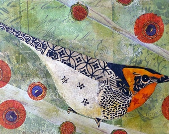 Blackburnian Warbler Bird Art Collage 5 x7 Giclee Print Joyful Song
