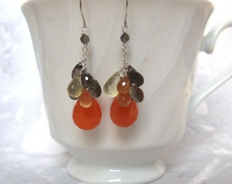 Carnelian Cluster Earrings- Silver, Lemon & Smoky Quartz, Hessonite Garnet