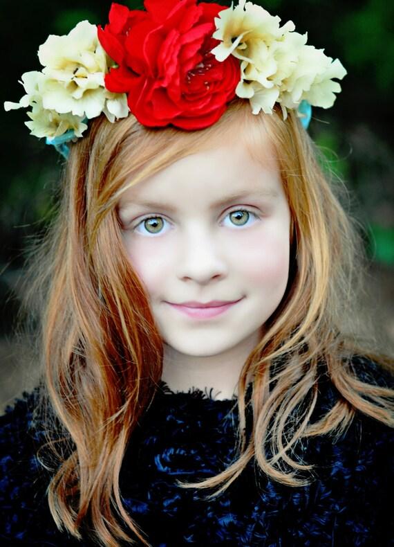 Fiore rosso turchese corona - libero spirito-moda accessori ghirlanda brillante festa nuziale accessori ragazza - il_570xN.527004790_ca1q