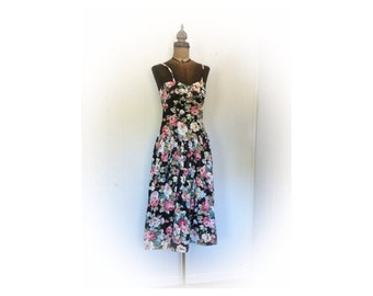Vintage 1980s Betsy's Things Dress Floral 80s does 50s Floral
