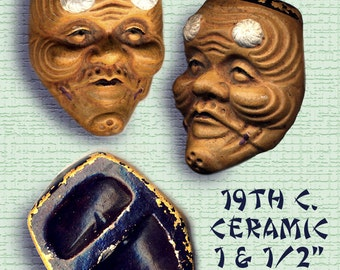 Netsuke ~ Large 19th C. Ceramic Noh Mask of Okina Wise Old Man