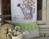 "Flour Sack Kitchen Towel...  Farmhouse Garden Cottage Ruffle ""Farmers Market"" Watering Can - Spring Flowers - Sweet Magnolias Farm"