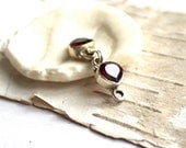 Sterling Silver 925 Red Garnet Pear Hook Clasp Set Faceted Stone Teardrop