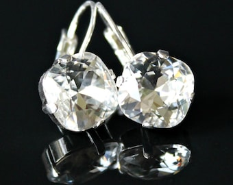 Vibrant Square Clear Swarovski Crystals Set in Silver Bezels, Silver Leverback Earrings