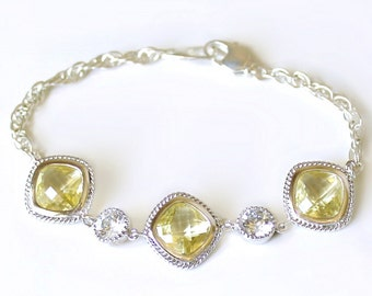 Lemon Yellow Crystals Set in Silver with Accent CZs on a Silver Bracele, Wedding Bracelet, Bridal Jewelry