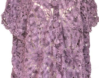 Grape Square - Crochet Granny Square Cardigan