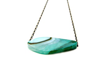 Agate Necklace Woodland Necklace Green Pendant Necklace Floating Pendant Gemstone Necklace Green Necklace Woodland High Fashion Mei Faith