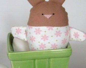 Brown Bunny - Easter Bunny - Easter Basket Toy - Girl Bunny Toy - Girl Rabbit - Toddler Bunny Toy - Stuffed animal bunny - Washable - Pink