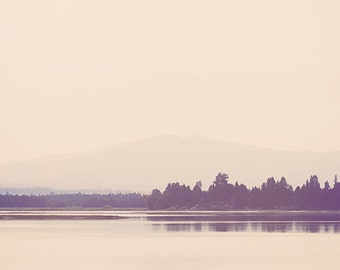 Nostalgic Lake - minimalist abstract lake home decor photographic print - panoramic