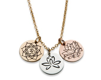 Lotus trio hand engraved necklace (gold filled, sterling silver, and rose gold filled)