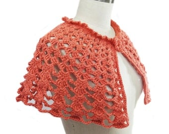 Hand Crocheted Capelet - Bridal Capelet - Bridesmaid Cover Up - Coral