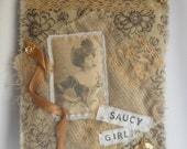 Saucy Girl Fabric and Vintage Lace Collage, Handstiched Decoration, Wall Decor, Cottage Chic Decoration