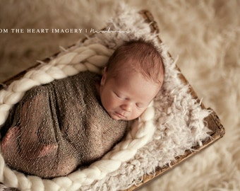 "Skinny Mini Newborn Braided Wool Bowl  ""Cream""    ---Ready To Ship---"
