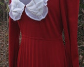 LOW CUT Jane Austen style Burgundy Red Wine dress, white lace collar knit sweater dress gown