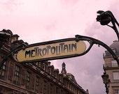 Paris Photography, Metropolitain Paris Sign, Paris Metro Wall Decor, Metro Wall Art, Paris Metro Sign Home Decor, Paris Metro Photography