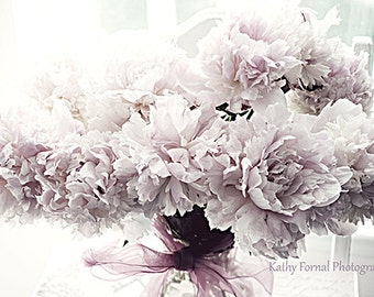 Peonies Photography, Romantic Peonies Wall Art, Shabby Chic Peonies, Lavender Pink Peonies Wall Decor, Peonies Lavender Photo Wall Art Print