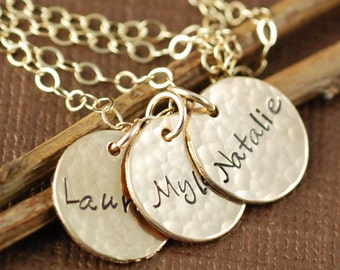 Gold Name Necklace, Personalized Necklace, Name Necklace,  Hand Stamped Jewelry, Mommy Necklace