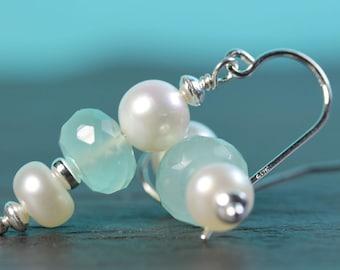 Pearl Earrings, Aqua Blue Chalcedony with pearls, Sterling silver Shepherd hooks, dangle earrings, aqua blue, gift idea for her, by art4ear