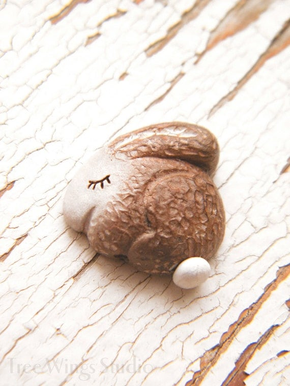 Little Bunny Rabbit Cottontail bead - Sleepy Woodland Critters hand painted forest animal bead (ready to ship)