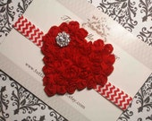 Valentine's Day Headband, Red Heart Headband, Heart Hair Bow, Red Chevron Headband Baby Headband, Toddler Headband Newborn Headband
