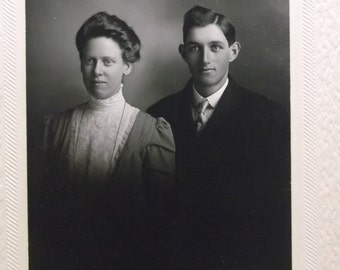 Well Dressed Couple - Hairstyles - Antique Cabinet Photo - Reading, Michigan