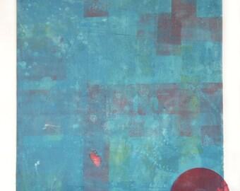 Original Contemporary Mixed Media Art Monoprint :FallOut
