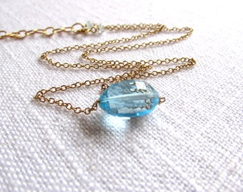 Swiss blue topaz necklace - gold necklace - swiss blue topaz - K A T E 183