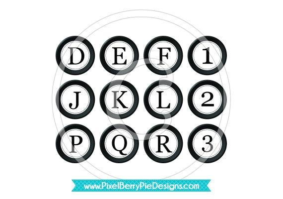 Printable 1 inch Typewriter Keys - Digital Collage Sheet - Vintage White and Black Buttons - Buy 2/Get 1 Free (Instant Download)
