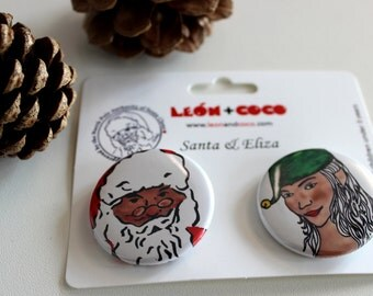 Santa & Eliza - Set of Two Round Pinback Buttons for Christmas