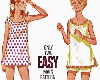 1960s Butterick 5323 Uncut (Sz16 B36) Misses Cover-Up & Shorts Pattern Womens 1969 Vintage Sewing Pattern 60s UNCUT
